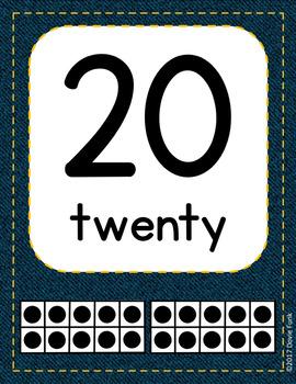 Classroom Decor Denim Classroom Number Posters