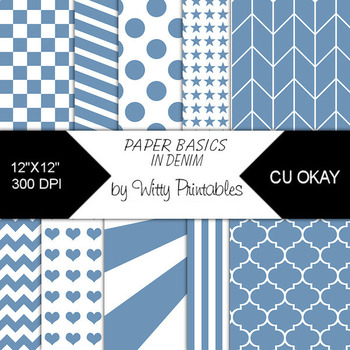 Denim Digital Paper Pack for Personal or Commercial Use CU Okay