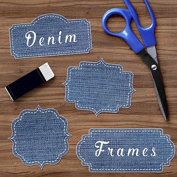 Denim Frame Clipart, Jean Labels Clipart