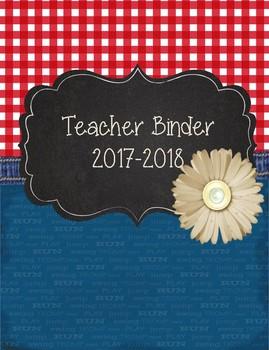 Denim, Gingham, Patterned Teacher Binder 2017-2018