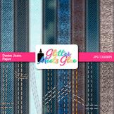 Denim Jeans Scrapbook Paper Backgrounds {Glitter Meets Glue}