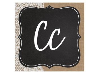 Burlap, Denim & Lace Cursive Alphabet