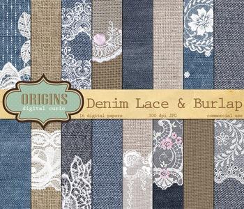 Denim Lace and Burlap digital paper scrapbooking backgrounds