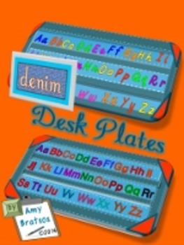 Denim Manuscript & Traditional Alphabet Desk Plates