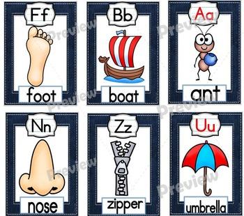 Denim Themed Alphabet Strip Posters