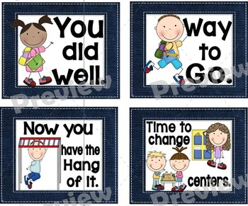 Denim Themed Classroom Management Signs and Positive Words Set