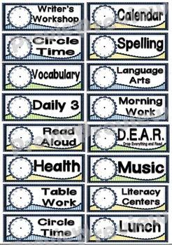 Denim Classroom Schedule Cards Set