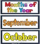 Denim Themed Days of Week and Months of Year Cards