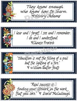 Denim Themed Teacher Quotes Bookmarks