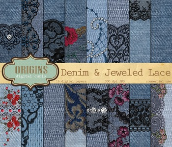 Denim and Lace rhinestone diamond jeweled digital scrapbook paper textures