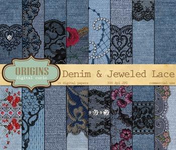 Denim and Lace rhinestone diamond jeweled digital scrapboo