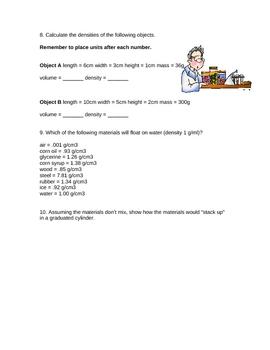 Denisty Worksheet