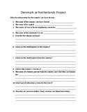 Denmark or Netherlands Social Studies Worksheet