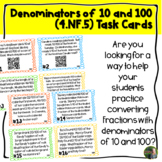 Denominators 10 and 100 QR Task Cards (4.NF.5