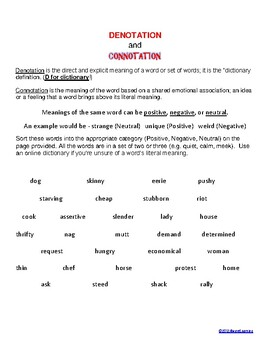 Denotation and Connotation Activity by AlwaysLearning | TpT