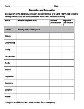 Worksheets Connotation Denotation Worksheet denotation and connotation by deanna cross teachers pay practice worksheet