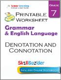 Denotation and Connotation Printable Worksheet, Grade 7