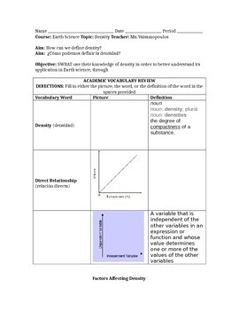 Density: Do Now/Guided Notes + Turn and Talk