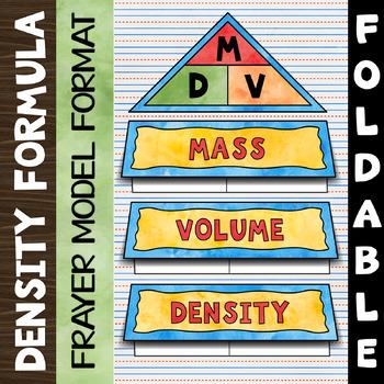Density Equation Foldable - Frayer Model Format - Great for INBs!