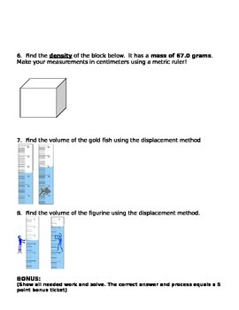 Density Formula Review and Density Column Drawing
