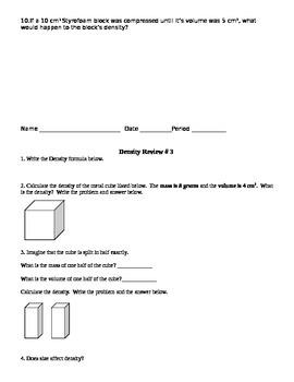 Density Formula Review and Density Column Drawing