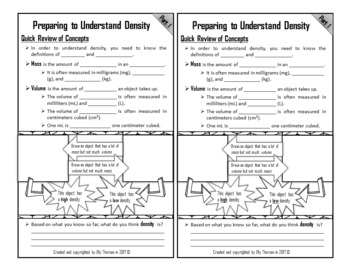 Density Interactive Notebook Pages