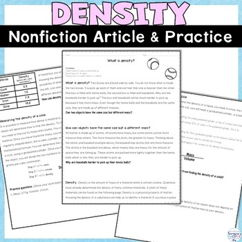 Density Nonfiction Reading Article and Practice Worksheets FREEBIE