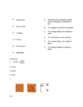 Density & Particle Model Quiz, Test or Activity Sheet with Answer Key