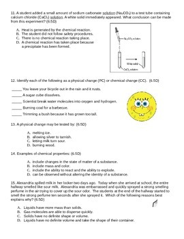 Density, Physical and Chemical Properties and Changes Practice