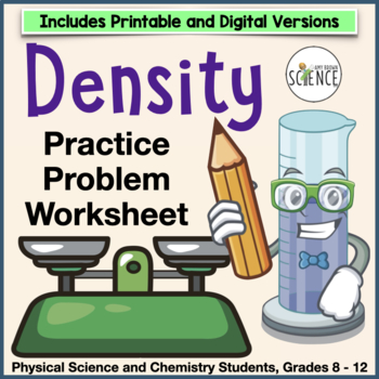 Density Practice Problems By Amy Brown Science Tpt
