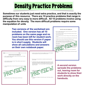 Density Practice Problems by Amy Brown Science | TpT