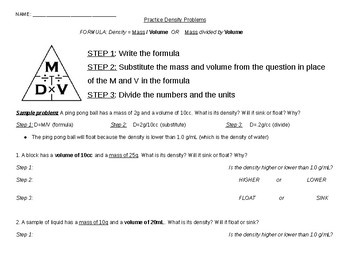 Density Practice Problems Worksheets Teaching Resources Tpt