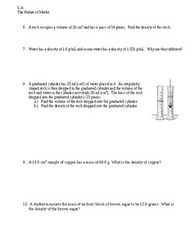 Density Practice Problems (ADVANCED) with answer key
