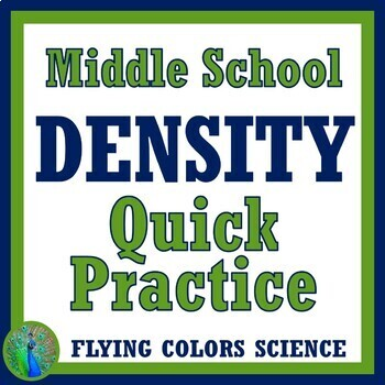 Density Practice Problems Homework Worksheet (middle school) NGSS MS-PS1-7