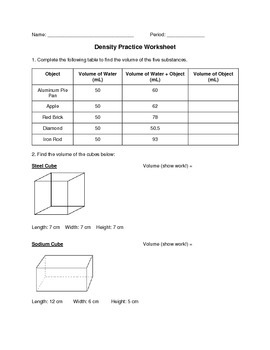 Density Practice Worksheet by Resources for Scientists in Training
