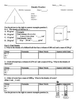 Density Practice Worksheet Teachers Pay Teachers