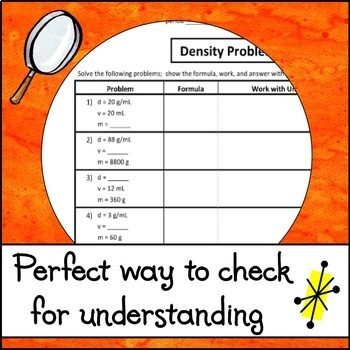Density Problems Worksheet By The Skye World Science Tpt