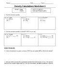 Density Problems Worksheet