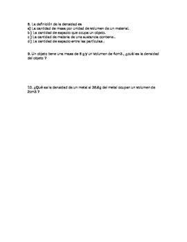 Density Quiz (spanish)
