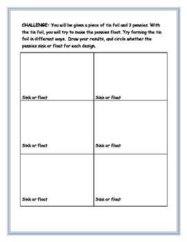 Density Sink or Float Experiment/Lab and STEM Challenge