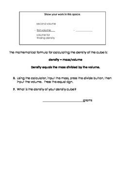 Density Student Lab Sheet