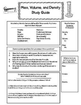 Density Study Guide