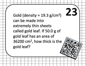Density Task Cards with or without QR codes