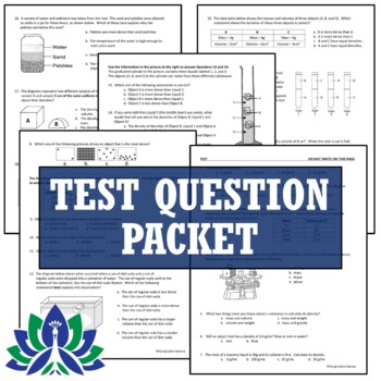 Density Test Assessment (Middle School)  NGSS MS-PS1-7