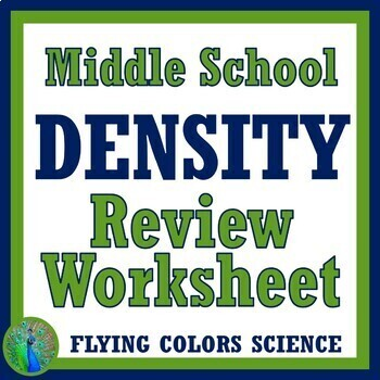 Density Review Worksheet (middle school) NGSS MS-PS1-7