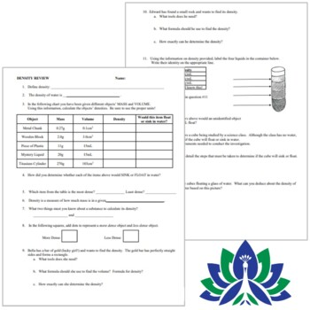 Density Worksheet Review (middle school) NGSS MS-PS1-7