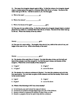 Density Test and Answer Key