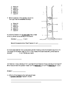 Density Test (with performance task) + Answer Key
