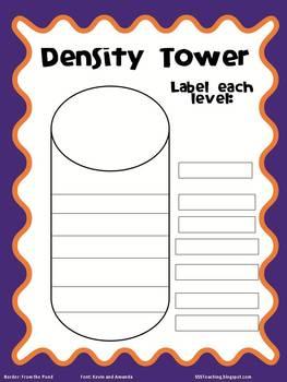 density tower worksheet by sssteaching teachers pay teachers. Black Bedroom Furniture Sets. Home Design Ideas