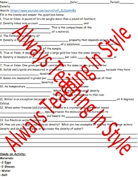Density Video Worksheet and Quick Hands-On Activity